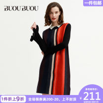 Dress Autumn 2016 Dark blue l58 155/S 160/M 165/L 170/XL Middle-skirt singleton  Sleeveless commute Crew neck middle-waisted stripe 35-39 years old Buou Buou lady BC3G909 More than 95% wool Wool 100% Same model in shopping mall (sold online and offline)