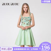Dress Summer 2017 155/S 160/M 165/L 170/XL 175/XXL Short skirt singleton  Sleeveless commute One word collar middle-waisted Animal design zipper Big swing other Breast wrapping 30-34 years old Type X Buou Buou lady More than 95% polyester fiber Polyester 100%