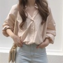 shirt Apricot powder Average size Spring of 2019 cotton 96% and above Long sleeves Versatile Regular Polo collar Single row multi button Bat sleeve Solid color