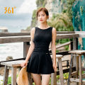 one piece  361° M L XL XXL XXXL Pink Black Skirt one piece With chest pad without steel support Nylon spandex SLY191012 Summer of 2019 female Sleeveless Casual swimsuit Solid color