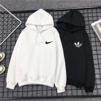 Sweater / sweater Autumn 2020 M L XL 2XL 3XL Long sleeves routine Socket singleton  Plush Hood easy commute routine Solid color 18-24 years old 96% and above Korean version polyester fiber Printed Drawstring Intradermal bile duct Polyester 100% Pure e-commerce (online only)