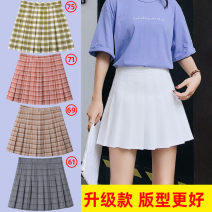 skirt Summer 2020 XS 1-foot-8, s 1-foot-9, m 2-foot, l 2-foot-1, XL 2-foot-2, XXL 2-foot-3 and XXL 2-foot-4 Short skirt Versatile High waist A-line skirt Solid color Type A 18-24 years old BY-170001 other Bea  polyester fiber Fold, button, zipper, stitching