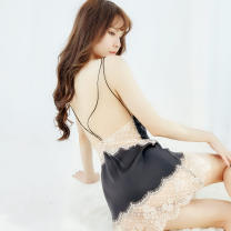 Nightdress A thousand snow weeds black 155(S) 160(M) 165(L) 170(XL) sexy camisole pajamas Short skirt summer Solid color youth V-neck Polyester (polyester) Hollowing out More than 95% Lace fabric 200g and below Summer of 2018 Polyester 96% polyurethane elastic fiber (spandex) 4%