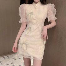 Dress Summer 2020 Apricot S,M,L Short skirt singleton  Short sleeve commute stand collar High waist puff sleeve 18-24 years old Type A Korean version five point one zero