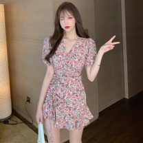 Dress Summer 2021 Purple, pink S,M,L Short skirt singleton  Short sleeve commute V-neck High waist Decor Socket One pace skirt routine 18-24 years old Type A Other / other Korean version zipper C1 71% (inclusive) - 80% (inclusive) polyester fiber