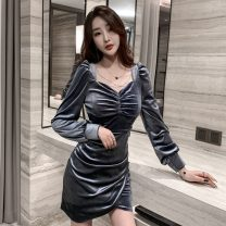Dress Winter 2020 Gray, black S,M,L,XL Short skirt singleton  Long sleeves commute square neck High waist Solid color Socket A-line skirt Wrap sleeves Others 18-24 years old Type A Korean version Bows, open backs, chains, folds B11.5