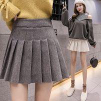skirt Spring 2021 S,M,L,XL,2XL Light grey, black, apricot, dark grey Short skirt commute High waist Pleated skirt Solid color Type A 18-24 years old B11.8 Korean version
