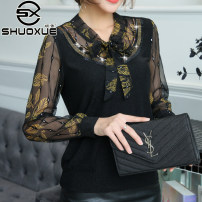 Lace / Chiffon Autumn of 2019 Black and white (regular no cashmere), black yellow (regular no cashmere), leopard print (regular no cashmere), doll collection (regular no cashmere) L,XL,2XL,3XL,4XL Long sleeves commute Socket singleton  easy Regular V-neck Decor routine 40-49 years old Shuo Xue A6887