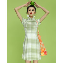 cheongsam Summer 2020 S M L XL XXL Light green short b0040 Short sleeve Short cheongsam lady Low slit daily Oblique lapel lattice 18-25 years old Piping B0040 Wen Qing other Other 100% Pure e-commerce (online only)