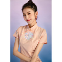 cheongsam Summer 2021 S M L XL XXL XXXL Short sleeve Short cheongsam Retro Low slit daily Oblique lapel Solid color 18-25 years old Piping Wen Qing other Other 100% Pure e-commerce (online only)