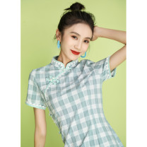 cheongsam Summer 2020 S M L XL XXL XXXL Short sleeve long cheongsam literature Low slit daily Oblique lapel lattice 18-25 years old Nail bead Wen Qing other Other 100% Pure e-commerce (online only)
