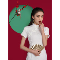 cheongsam Spring 2021 S M L XL XXL XXXL White dark print [with sling lining] bu2220 Short sleeve Short cheongsam Retro Low slit daily Oblique lapel Solid color 18-25 years old Piping WQ52 Wen Qing other Other 100% Pure e-commerce (online only)