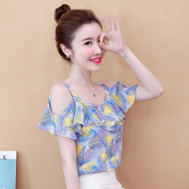 Lace / Chiffon Summer 2020 S,M,L,XL,2XL Sleeveless commute Socket singleton  easy One word collar Decor routine 25-29 years old Korean version 81% (inclusive) - 90% (inclusive) polyester fiber