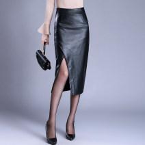 skirt Autumn 2020 S,M,L,XL,2XL,3XL,4XL black Mid length dress commute High waist skirt Solid color Type H PU Korean version