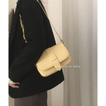 Bag The single shoulder bag PU Saddle bag brand new Japan and South Korea Small leisure time soft Cover type no Solid color Single root One shoulder cross carry nothing youth Saddle shape chain Soft handle polyester fiber Certificate bag soft surface