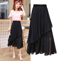 skirt Spring 2020 S,M,L,XL,2XL,3XL black Mid length dress Versatile High waist Pleated skirt Solid color Type A Splicing