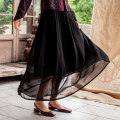 skirt Summer 2020 S. M, l, XL, custom Hibiscus, pure black, peacock blue longuette commute Natural waist Pleated skirt Solid color Type A More than 95% LanJin silk Retro