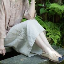 skirt Summer of 2019 longuette grace Natural waist skirt Solid color Type H More than 95% LanJin hemp