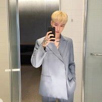 man 's suit Blue suit, blue pants, black suit, black pants Others Youth fashion routine M,L,XL easy A single breasted button Other leisure No slits youth Long sleeves spring routine Exquisite Korean style Casual clothes Flat lapel Straight hem