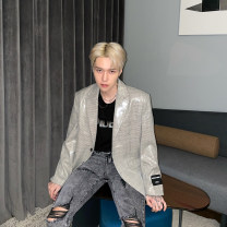 man 's suit Green, coffee Others Youth fashion routine M,L,XL easy Double breasted Other leisure No slits youth Long sleeves spring routine Exquisite Korean style Casual clothes Flat lapel Straight hem lattice