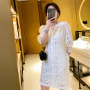 Dress Summer 2020 white S M L XL Short skirt singleton  Short sleeve commute V-neck High waist Solid color Single breasted A-line skirt puff sleeve Others 18-24 years old Type A Xuan Ling Korean version 51% (inclusive) - 70% (inclusive) other polyester fiber Polyester 70% other 30%