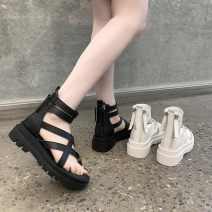 Sandals 35 36 37 38 39 40 Black and white PU Barefoot Flat heel Middle heel (3-5cm) Spring 2021 zipper leisure time Solid color Adhesive shoes Youth (18-40 years old) rubber daily Front and rear trip strap Low Gang Lateral space Cool boots Shaving Pure e-commerce (online only)