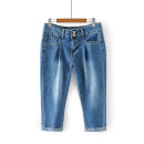 Women's large Spring 2021 blue 1XL,2XL,3XL,4XL,5XL Jeans singleton  commute moderate Solid color SSM395 Cropped Trousers
