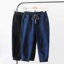 Women's large Spring 2021 Blue, black 1XL,2XL,3XL,4XL Jeans singleton  street moderate Solid color KX629 Cropped Trousers