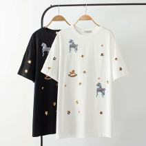 T-shirt Black, white 2XL,3XL,4XL Summer 2020 Short sleeve easy Regular other 71% (inclusive) - 85% (inclusive) 25-29 years old Embroidery