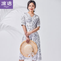 Dress Summer of 2019 155 160 170 165 Mid length dress V-neck middle-waisted Others 18-24 years old Bingjie More than 95% polyester fiber Polyester 100% Same model in shopping mall (sold online and offline)