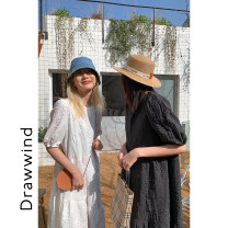 Dress Spring 2021 White, black S,M,L Mid length dress singleton  Short sleeve commute Crew neck Solid color puff sleeve 18-24 years old DRAWWIND L307 More than 95% polyester fiber