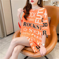 T-shirt Orange green M L XL Spring 2021 Short sleeve Crew neck easy Medium length routine commute polyester fiber 86% (inclusive) -95% (inclusive) 18-24 years old Korean version youth Love Mengwei six thousand seven hundred and four - four Polyester 95% polyurethane elastic fiber (spandex) 5%