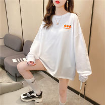 T-shirt Orange white green black M L XL Autumn 2020 Long sleeves Crew neck easy Medium length Bat sleeve commute polyester fiber 86% (inclusive) -95% (inclusive) 18-24 years old Korean version youth Love Mengwei 3532-1 Polyester 95% polyurethane elastic fiber (spandex) 5% Exclusive payment of tmall