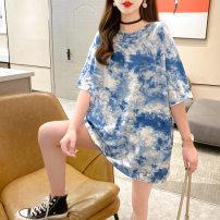 Dress Summer 2021 Grey blue M L XL Short skirt 18-24 years old Love Mengwei More than 95% polyester fiber Polyester 95% polyurethane elastic fiber (spandex) 5%