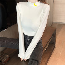 T-shirt White black M L XL XXL Autumn 2020 Long sleeves Half high collar Self cultivation Regular routine commute polyester fiber 86% (inclusive) -95% (inclusive) 18-24 years old Korean version youth Love Mengwei J052 Polyester 95% polyurethane elastic fiber (spandex) 5% Exclusive payment of tmall