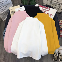 T-shirt Black white pink ginger Stripe Black Stripe white plush black Plush White M L XL Autumn of 2019 Long sleeves Half high collar Self cultivation Regular routine commute polyester fiber 86% (inclusive) -95% (inclusive) 18-24 years old Korean version originality Love Mengwei 8031-1