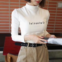 T-shirt White Black Brown M L XL XXL Autumn 2020 Long sleeves Half high collar Self cultivation Regular routine commute polyester fiber 86% (inclusive) -95% (inclusive) 18-24 years old Korean version youth Love Mengwei 7322-3 Polyester 95% polyurethane elastic fiber (spandex) 5%