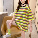 Dress Summer 2021 Green yellow M L XL Short skirt Short sleeve 18-24 years old Love Mengwei More than 95% polyester fiber Polyester 95% polyurethane elastic fiber (spandex) 5%