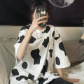 T-shirt Cow - white M L XL Autumn 2020 Short sleeve Crew neck easy Medium length routine commute polyester fiber 86% (inclusive) -95% (inclusive) 18-24 years old Korean version youth Love Mengwei 5170-2 Polyester 95% polyurethane elastic fiber (spandex) 5% Exclusive payment of tmall