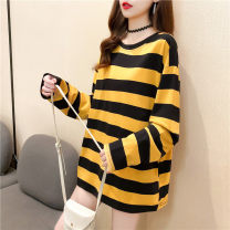 Women's large Autumn 2020 Yellow Black Stripe Black and white stripe blue green stripe red blue stripe purple black stripe M L XL T-shirt singleton  commute easy moderate Socket Long sleeves Korean version Crew neck Medium length printing and dyeing routine 6107-6 Love Mengwei 18-24 years old