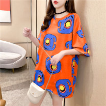 T-shirt Orange yellow M L XL Spring 2021 Short sleeve Crew neck easy Medium length routine commute polyester fiber 86% (inclusive) -95% (inclusive) 18-24 years old Korean version youth Love Mengwei Polyester 95% polyurethane elastic fiber (spandex) 5% Exclusive payment of tmall