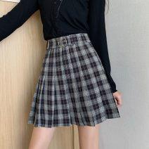 skirt Autumn 2020 S,M,L grey commute High waist Pleated skirt lattice 18-24 years old 91% (inclusive) - 95% (inclusive) polyester fiber Retro