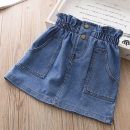 skirt 90cm,100cm,110cm,120cm,130cm blue Other / other female Cotton 85% others 15% summer skirt Korean version Solid color Denim skirt Denim