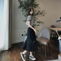 Dress Summer 2020 S,M,L,XL Mid length dress Two piece set Short sleeve commute Crew neck middle-waisted stripe Socket A-line skirt routine Others 25-29 years old Type A Korean version 71% (inclusive) - 80% (inclusive) other polyester fiber