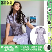 Dress Spring 2021 violet XS,S,M,L Middle-skirt singleton  Long sleeves commute other Socket other other Others Other / other More than 95% other polyester fiber