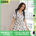 Dress Spring 2021 white S,M,L Middle-skirt singleton  Short sleeve Sweet V-neck High waist Decor Socket Princess Dress puff sleeve Others 18-24 years old Type X MOOD X MIURA Lace up, printed 21SS D04 More than 95% other cotton princess