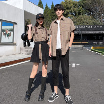 shirt Youth fashion Seven tides and eight tides S M L XL 2XL 3XL Men's shirt, men's shirt + pants, women's shirt + skirt Thin money square neck Short sleeve Self cultivation Other leisure summer GC666 lovers Cotton 75% polyester 25% tide 2021 lattice Plaid Summer 2021 No iron treatment cotton