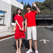T-shirt Youth fashion Men's t-shirt men's T-shirt + shorts women's dress thin S M L XL 2XL 3XL Seven tides and eight tides Short sleeve Crew neck Self cultivation Other leisure summer GT77 Cotton 75% polyester 25% Couples dress routine tide Cotton wool Summer 2021 Solid color Color contrast