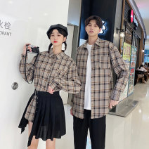 shirt Youth fashion Seven tides and eight tides S M L XL 2XL 3XL Men's shirt, men's shirt + pants, women's shirt + skirt routine square neck Long sleeves standard Other leisure autumn lovers Polyester 75% cotton 25% tide 2020 lattice Plaid Autumn 2020 No iron treatment Splicing