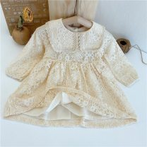 Dress white female 0-3 90cm,100cm,110cm,120cm,130cm Cotton 70% flax 30% spring and autumn Korean version Long sleeves Solid color Lace A-line skirt 12 months, 9 months, 18 months, 2 years, 3 years, 4 years